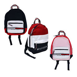Tommy Hilfiger Backpack Canvas Small Book Bag 2 Pocket Colorblock School New Nwt $54.90
