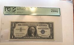 1957  1 Star Silver Certificate , Pcgs 67ppq Star Note