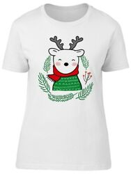 Cute White Deer And Red Scarf Women's Tee -Image by Shutterstock