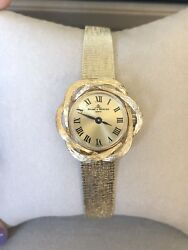 Vintage Ladies Baume And Mercier 14k Yellow Gold Case And Band Wrist Watch