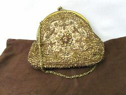 VINTAGE MOYNA COUTURE BRONZE FLORAL DESING BEADED EVENING CLUTCH HAND BAG PURSE