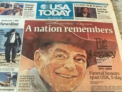 Ronald Wilson Reagan-a Nation Remembers-usa Today Legacy Paper-june 7,2004