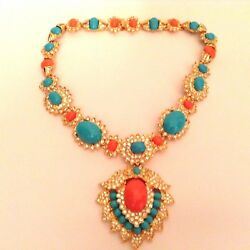 NEW COLLECTORS ITEM: Kenneth Jay Lane Turquoise and Coral Statement Necklace