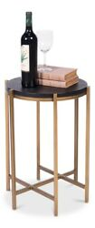 21 H Ilenia Set Of Two Side Table Leather Mdf Iron Dia Black Natural Antgol