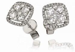 1.00ct F Vs Round Brilliant Diamond Cluster Stud Earrings In 18ct White Gold