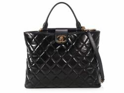 CHANEL 2017 Black Quilted Glazed Calfskin Tote Bag Purse ~ Like two bags in one!