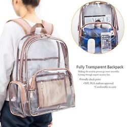 NiceEbag Clear Backpack with Cosmetic Bag Case Clear Transparent ROSE GOLD USA