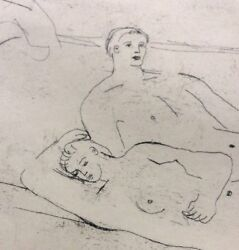 Henry Moore Signed Intaglio / Etching Reclining Figures On Beach Nude Couple