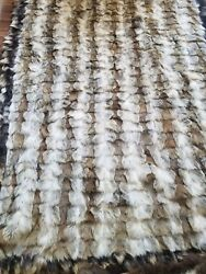 Luxury Genuine Fox Fur Throw Blanketbed Cover Throw Whole Skins Mixed Colors