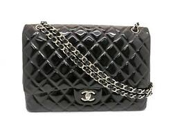 Chanel Maxi Jumbo Silver Metal Chain Flap Bag Patent Leather Black 5206
