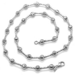 18k White Gold Chain Finely Worked 5 Mm Ball Spheres And Tube Link 15.8 Inches