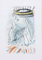 Salvador Dali King Solomon 1971 Color Etching With Gold Dust On Arches Paper