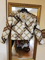 Michael Kors Lightweight CHAIN LINK w Leather MK tag Jacket S NWT