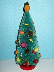 Christmas Repro Decorated 11 Bottle Brush Tree With Fruits Nice