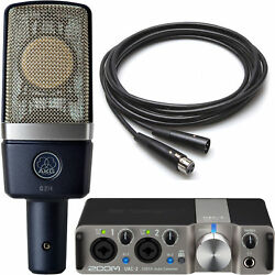 AKG C214 Studio Condenser Microphone w Zoom UAC-2 USB 3.0 Interface and Cable