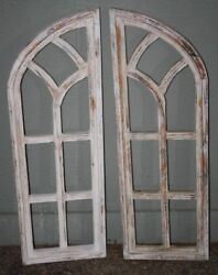 2 Wooden Antique Style Church Window Frame Shutters Wood Gothic 36 Shabby