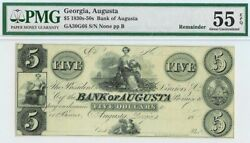 1830s Augusta, Georgia 5 Dollar Obsolete Bank Pmg About Uncirculated 55 Epq