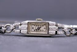 Antique 14 Kt White Gold And Diamond Watch