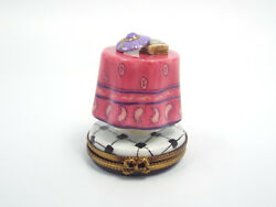 Limoges France Peint Main Round Table Pink Table Cloth W/ Hat And Book Trinket Box