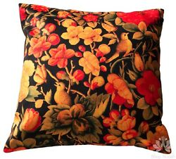 Red Floral and Bird Cushion Cover Luxury Colorful Velvet Pillow Case Sofa Gift