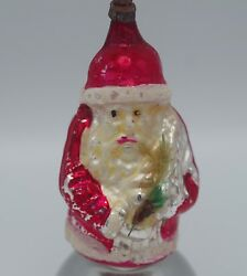 Antique German Mercury Glass Belsnickle Santa With Feather Tree Ornament
