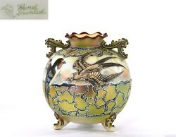 Old Japanese Hand Painted Moriage Nippon Vase Sparrow Bird Mk Green Leaf - As Is