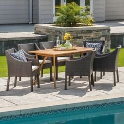 Abel Outdoor 7 Piece Acacia Wood/ Wicker Dining Set With Cushions, Teak Finish A