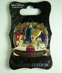 Disney Pin Wdi D23 Beauty And The Beast Stained Glass Thanksgiving Le Oc Rare
