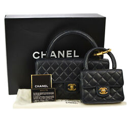 Authentic CHANEL Quilted CC 2 in 1 Hand Bag Set Navy Leather Vintage RK11542