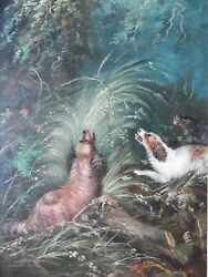 J. Langlois Terriers Raising a Pheasant in Woodland. Oil by Well Listed Artist