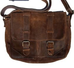 Claire Chase distressed brown suede leather rustic briefcase messenger work bag