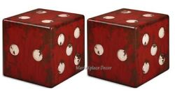 Red Dice Accent End Tables Seat Game Room Gambling Craps Casino Furniture Set/2