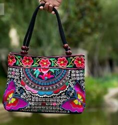 Vintage Embroidery Women Handbag Ethnic Canvas Totes Wood Beads Zip Shoulder Bag $30.59
