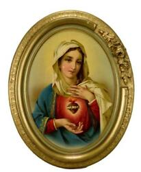 French Antique 1930's The Sacred Heart Of Mary Oval Gilt Wall Frame