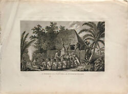 Original Antique Capt. Cook Engraving 1784 - An Offering Before Captain Cook