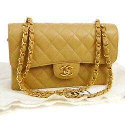 Auth CHANEL Quilted CC Double Flap Chain Shoulder Bag Beige Caviar GHW AK16665a
