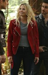 Women Emma Swan Red Suede Leather Jacket Once Upon A Time Season 7 All Sizes