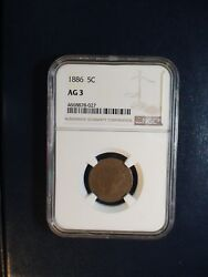 1886 Liberty V Nickel Ngc Ag3 Rare 5c Coin Priced To Sell Now
