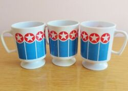 Vintage Melmac Mugs Cups 3 Stars Stripes Red Blue Melamine Texas Ware Camping