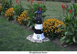 Amish-made Replica Fire Island Ny Lighthouses With Solar-powered Led Lighting