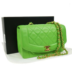 Authentic CHANEL Quilted Chain Shoulder Bag Green Leather VTG EXCELLENT N20301