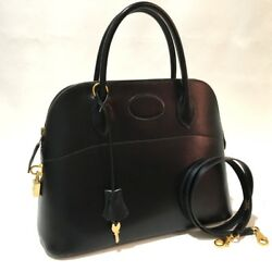 AUTHENTIC HERMES Hand Bag Bolide 31 Hand Bag with Strap Black Boxcalf Leather