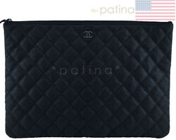 Chanel So Black Large Classic Quilted O Case Clutch Purse Bag 62234