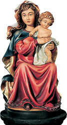 Statue Our Lady Sitting With Child - Madonna Wood