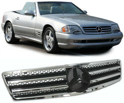 CHROME AND BLACK HOOD BONNET GRILL FOR MERCEDES SL R129  NICE GIFT