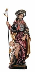 Statue Saint Rocco With Child Wood - Woodcarving St. Rock