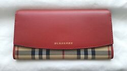 BRAND BURBERRY HORSEFERRY RED LEATHER WALLET WOMEN