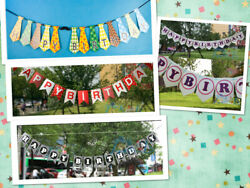 Cute Happy Birthday Banner Tie Red and Black Party Decoration Supplies Flag