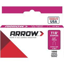100 Pk Arrow T18 High-performance Round Crown Cable Staple, 3/8 L. 1000-pack