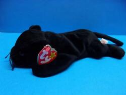 Ty Beanie Babies VELVET the Black Panther Cat Plush Toy Retired 1995 PVC Pellets
